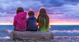 Children, sunset, horizon, log, sea, ocean, sky