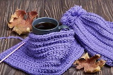 Blue knitting and coffee