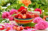 Strawberry, Mug, Petals, Roses, Cherry, flowers