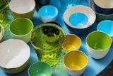Colored ceramic bowls