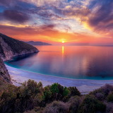 Mediterranean sea at sunset in Cephalonia Greece