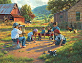 Country  Kids Playing Marbles
