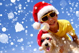 boy and dog with Christmas hat