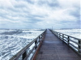Catwalk across the thundering Baltic sea
