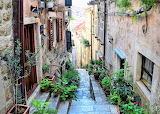 Ancient neigborhood stairs Old Town Dubrovnik Croatia