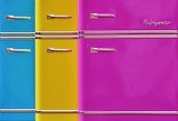 ^ Refrigerators in blue, yellow, pink