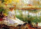 Peinture-femme au bord de l'eau