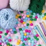 Colorful knitting supplies!