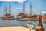 Sailing ships, harbor, Greece