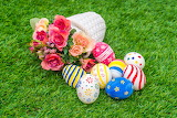 Flowers, basket, eggs, Easter, weed, grass, roses