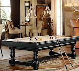 POTTERY BARN TURNED-LEG POOL TABLE WITH TABLE TENNIS TOP