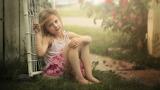 Girl, beautiful, sitting, gate, fog, child, beauty, sweet, grass