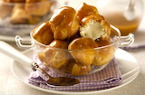 ^ Profiteroles with cardamom crème fraîche and orange toffee sau