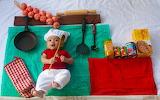 Small boy helping at kitchen