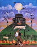 Haunted House Halloween Folk Art by KimsCottageArt