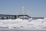 mackinaw bridge winter blue ice