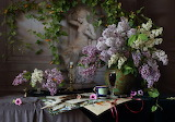 Pen, wine, ring, sculpture, lilac, candle, cup, flowers, leaves