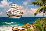 Sailboat in the tropics
