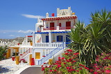 colorful hotel in Greece