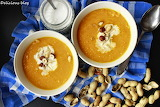 Carrot soup with peanut butter and coconut milk