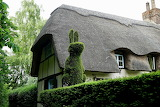 ^ Topiary Rabbit, Thatched Roof Cottage