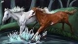 horses jumping in the water