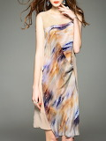 D.FANNI Apricot H-line Sleeveless Silk Midi Dress