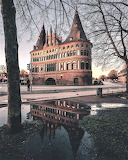 Reflection in rain water Lubeck Germany