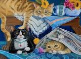Joy Campbell, Three cats and yarn