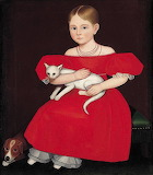Ammi Phillips, Girl in Red Dress with Cat and Dog, 1830's