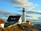 First Light at Portland Headlight on Ram Island Maine USA