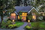 Home, garden, trees, flowers, evening, lights