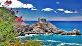 Castle-landscape-flowers-sea-rock-coast-horizon-Cinque Terre-Ita