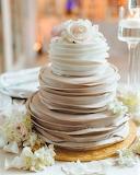 Ruffled chocolate wedding cake