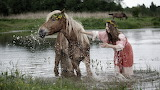 Girl, squirt, river, mood, horse, bathing, laughing, happy