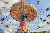 Sky, carousel, people, amusement park