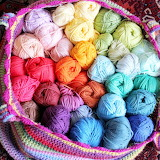 Crocheted basket of yarn