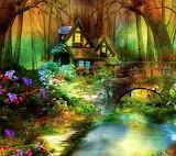 Maison en bord de rivière-peinture
