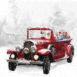 Santas-red-classic-car