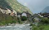 Mountain town on river Giornico Switzerland