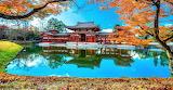 Temple, pagoda, pond, reflection, trees, autum, Japann
