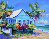 Blue Cottage on the Beach by John Clark