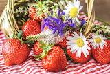 Strawberries-basket-wildflowers