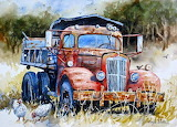 Truck and chickens