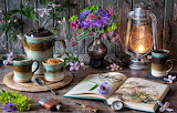 Flowers, style, lamp, coffee, bouquet, glasses, mug, book, still