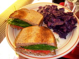 ^ Sandwich with purple cabbage slaw