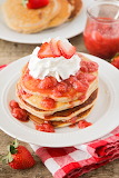 ^ Strawberry pancakes