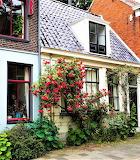 Red roses frame white house Netherlands