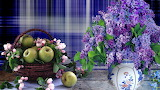 Apples, lilac, flowers, vase, basket, still life