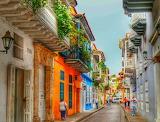 ^ Colorful streetscene in Cartagena, Columbia